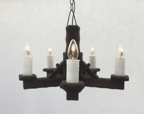Traditional Rustic Wooden 5-Light Pendant/Ceiling Light